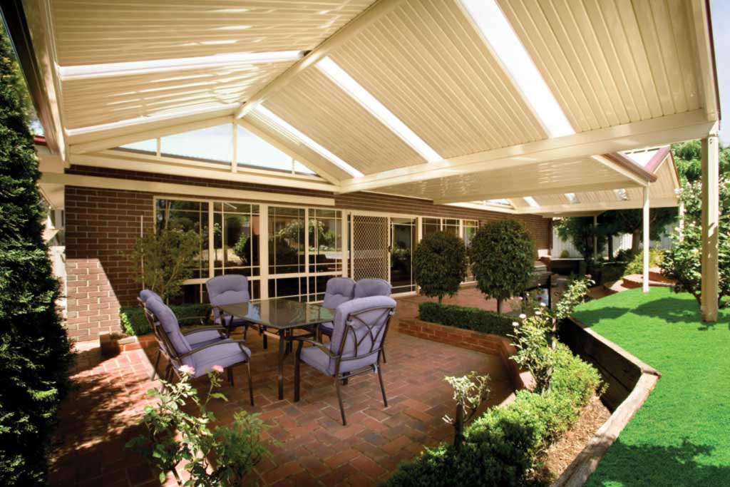 Gable patio total outdoor living for Carport landscaping ideas